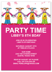 Children Clowns Party Birthday Invitation Examples