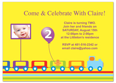 Kids Train Bright Colors Birthday Invitation Examples