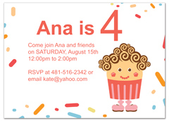 Girl Pink Cupcake Candy Birthday Invitation Ideas