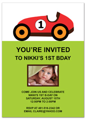 Red Racing Car First Birthday Invitation Ideas