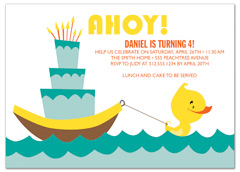 Boat Duck Cake Candle Birthday Invitation Samples
