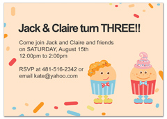 Twin Cake Candy Party Birthday Invitation Wording