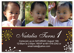 Baby Girl Picture 1st Birthday Party Invitations