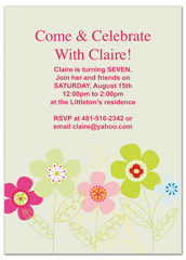 Botanical Floral Girl Seventh Birthday Party Invitations
