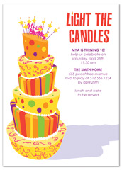 Colorful Cake Candles Birthday Party Invitations