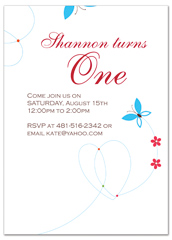 Girl Butterfly First Birthday Party Invitations