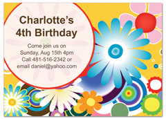 Rainbow Bright Colors Floral Birthday Party Invitations