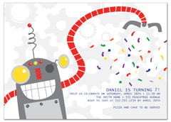 Robot Clown Candy Birthday Party Invitations