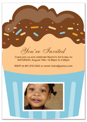 3 Year Old Cupcakes Personalized Birthday Invitation