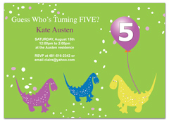 Dinosaurs With Balloons Personalized Birthday Invitation